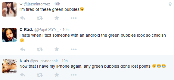 Twitter Hates Green Bubbles